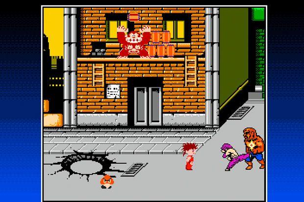 Abobo, boss di primo livello di Double Dragon, è il protagonista. Qui combatte contro un altro nemico da Double Dragon, Kid Niki dal gioco omonimo, un goomba e quel gorilla sopra che non mi ricordo proprio chi sia.