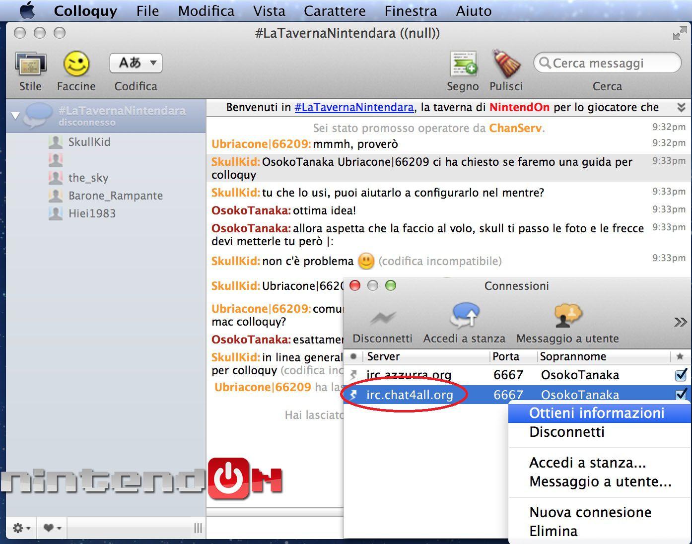Guida Colloquy schermata 3 final chat di colloquy
