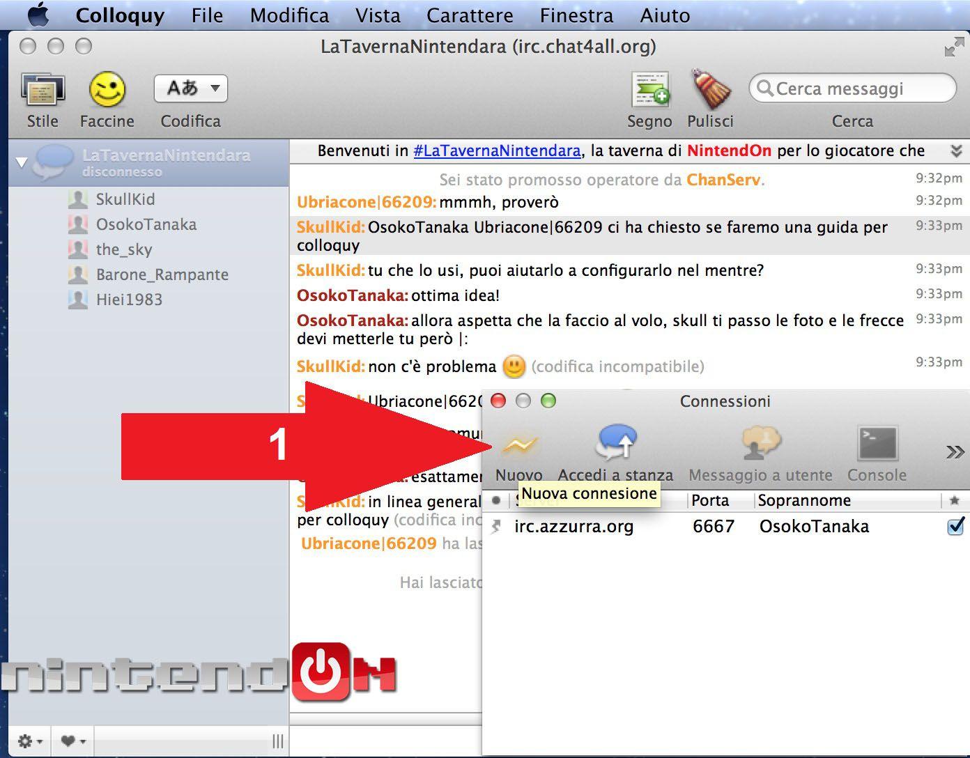 Guida Colloquy schermata 2 chat di colloquy