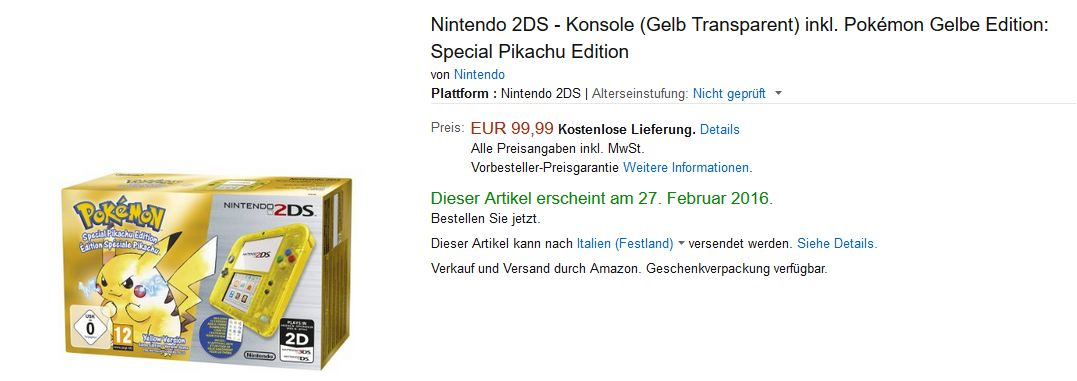 Nintendo 2DS Pokémon-NintendOn Amazon rivela il prezzo Pokémon blu, rosso e giallo
