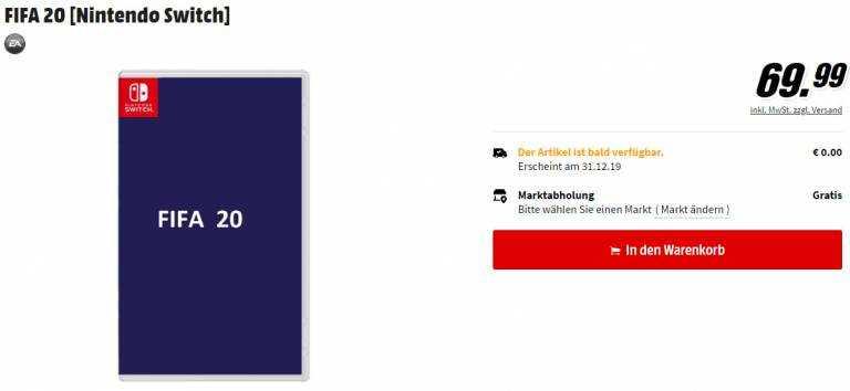 FIFA 20 Nintendo Switch listino mediamarkt