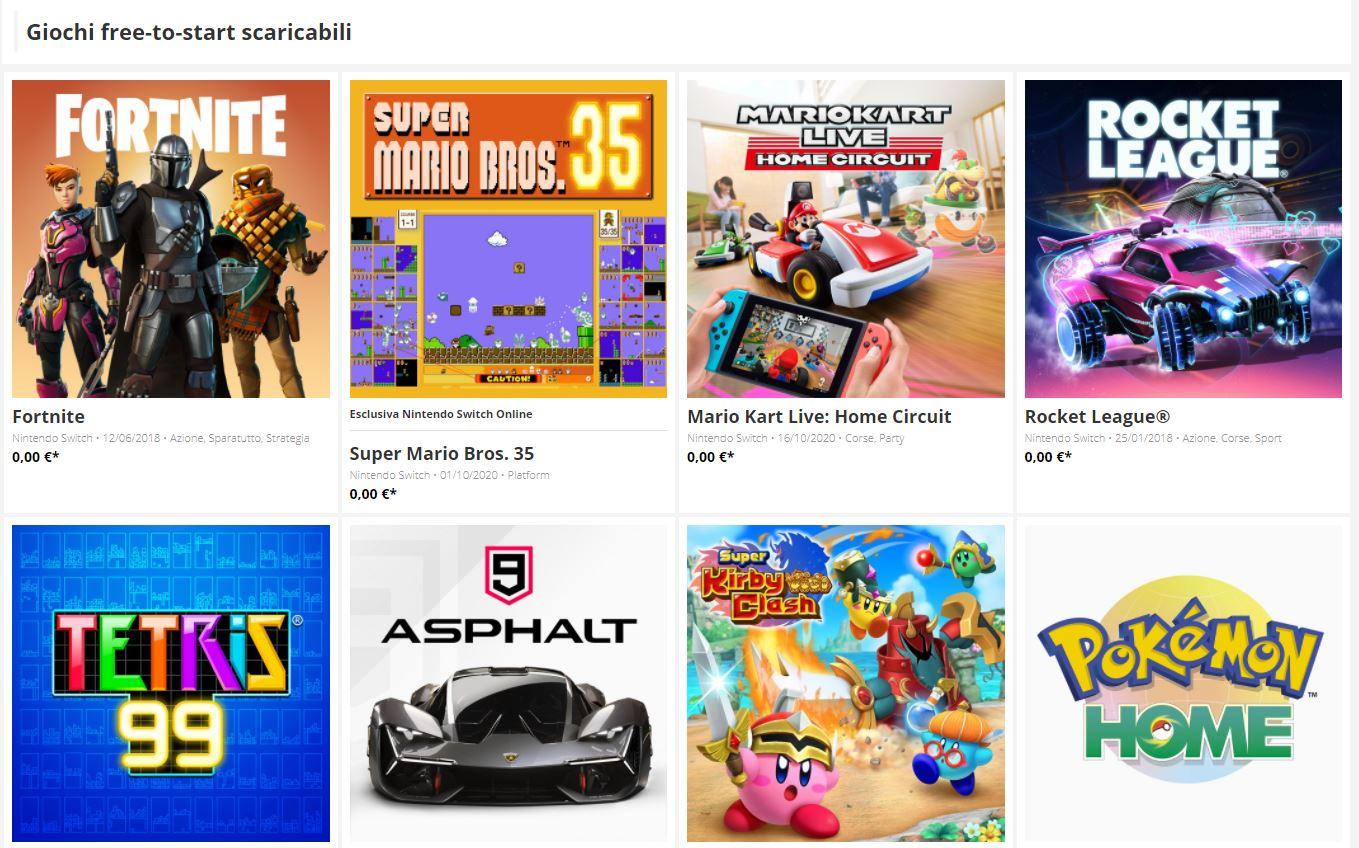 Giochi gratis Nintendo Switch